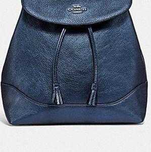 COACH Elle Metallic Blue Backpack